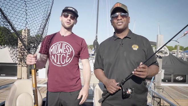 """Charlie Berens, left, and LeRoy Butler hit Lake Winnebago in search of fish for """"LeRoy & Charlie's Catch & Don't Release Cooking & Fishing Show."""""""