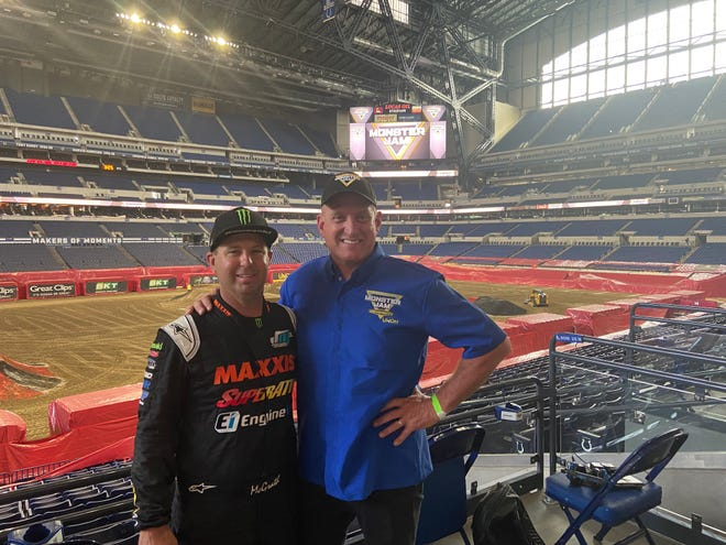 Jeremy McGrath (left) and Tom Meents (right) at Lucas Oil Stadium ahead of Monster Jam.