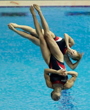 Alison Gibson and Krysta Palmer, shown competing at the World Swimming Championships in South Korea in 2019, will represent the United States in synchronized 3-meter diving at the Tokyo Olympics.