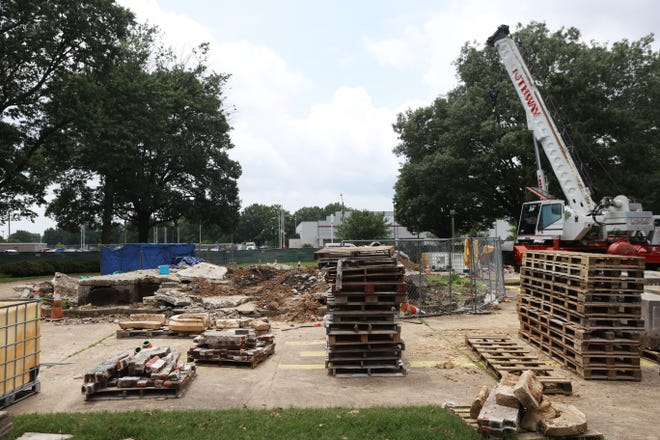 Crews have completed the removal of the remains of Gen. Nathan Bedford Forrest and his wife from the former monument at Health Sciences Park in Memphis while final cleanup work is still left to be finished on Friday, June 11, 2021.