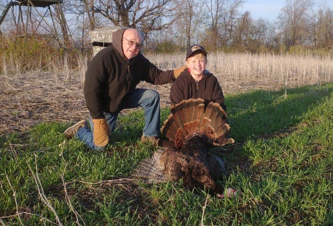 Ryan Smukowski, 9, of Pewaukee shot his first wild turkey during the 2021 Wisconsin youth hunt while hunting in Richland County with his grandfather Jerry Smukowski of Pewaukee and his uncle Jim Smukowski of Oconomowoc.