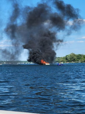 Two people had to abandon a boat on Pewaukee Lake when it caught fire June 5 on the west end of the lake. The two escaped injury but the boat was destroyed, authorities said.