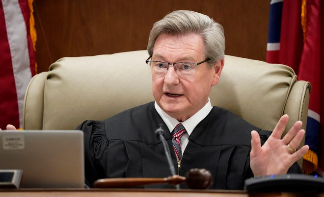 Circuit Judge David D. Wolfe talks District Attorney Ray Crouch in the courtroom during Joseph Daniels trial at Dickson County Justice Center on Friday June 11, 2021, in Dickson, Tenn.  Daniels is charged with murdering his 5-year-old son, Joe Clyde in 2018.