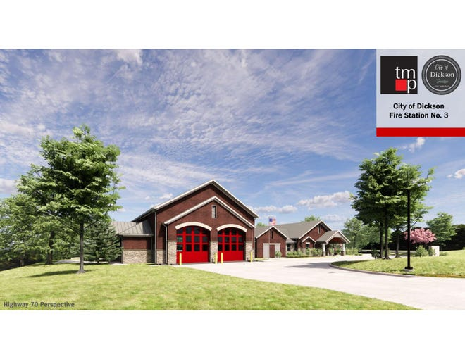 Renderings of the planned new City of Dickson Fire Station No. 3 presented at a recent Dickson City Council meeting.