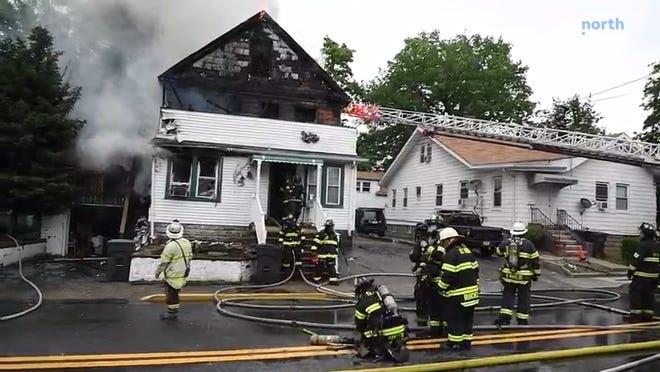 Raw video: Fire destroys a home on E. Clinton Ave in Bergenfield