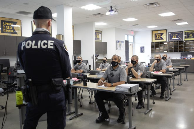Las Cruces Police Ofc. Brian Klimeck instructs a class of cadets at the East Mesa Public Safety Office on June 4, 2021.