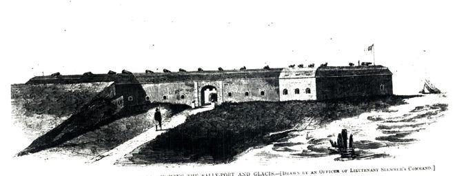 Vista frontal de Fort Pickens desde 1861.