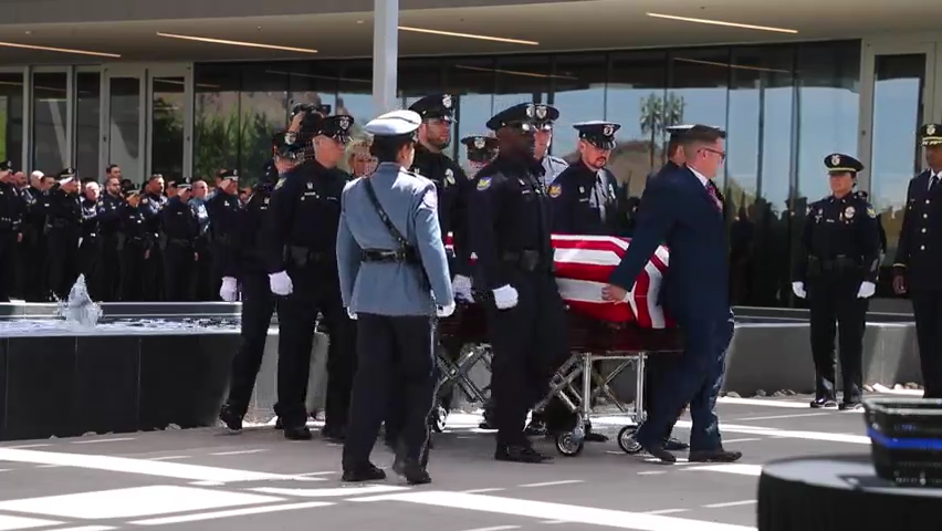 Funeral service for Officer Ginarro New at Dream City Church in Phoenix