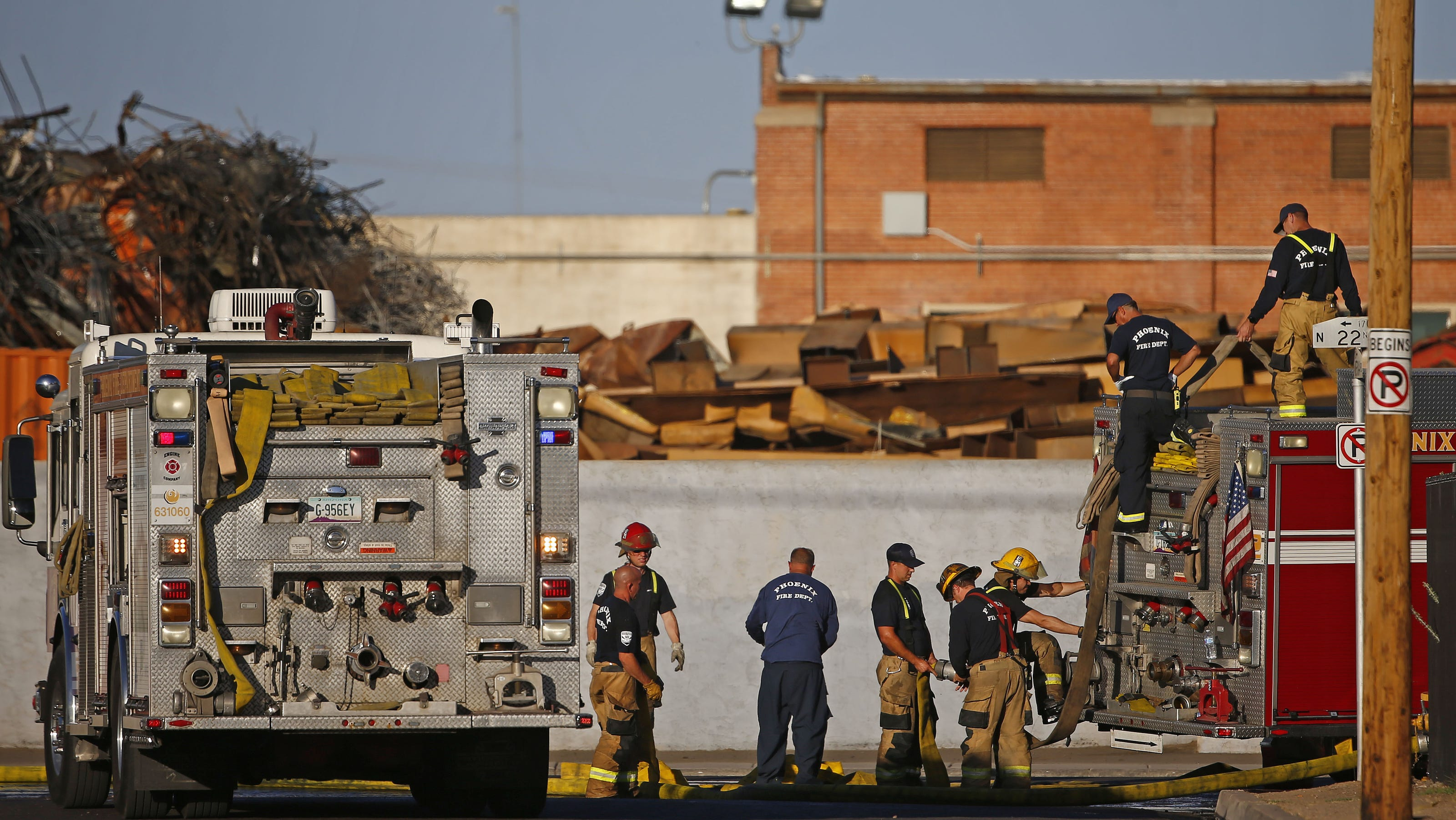 Firefighters working to extinguish yet another fire at Phoenix recycling plant
