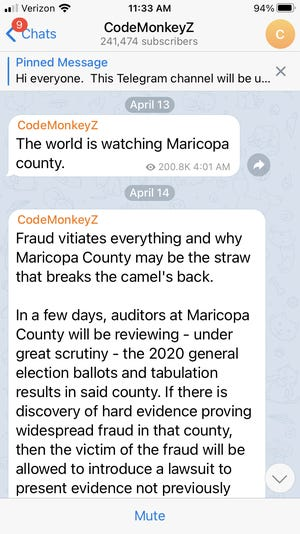 A screenshot from the Telegram channel of Ron Watkins, known as Code Monkey Z, describes the world watching the audit of the 2020 election results in Maricopa County