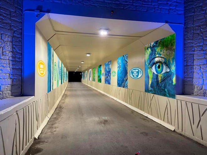 An example of what the Military Street tunnel could look like after 20 artists create 20 different murals in the space with conversational prompts between them.
