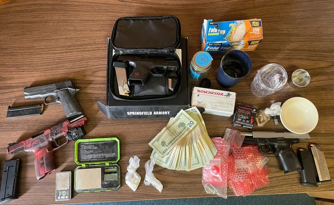 Law enforcement foundcrack/cocaine, power cocaine and four loaded handguns during a search of a residence in the 700 block ofSW 15th Street on Friday, June 11, 2021.