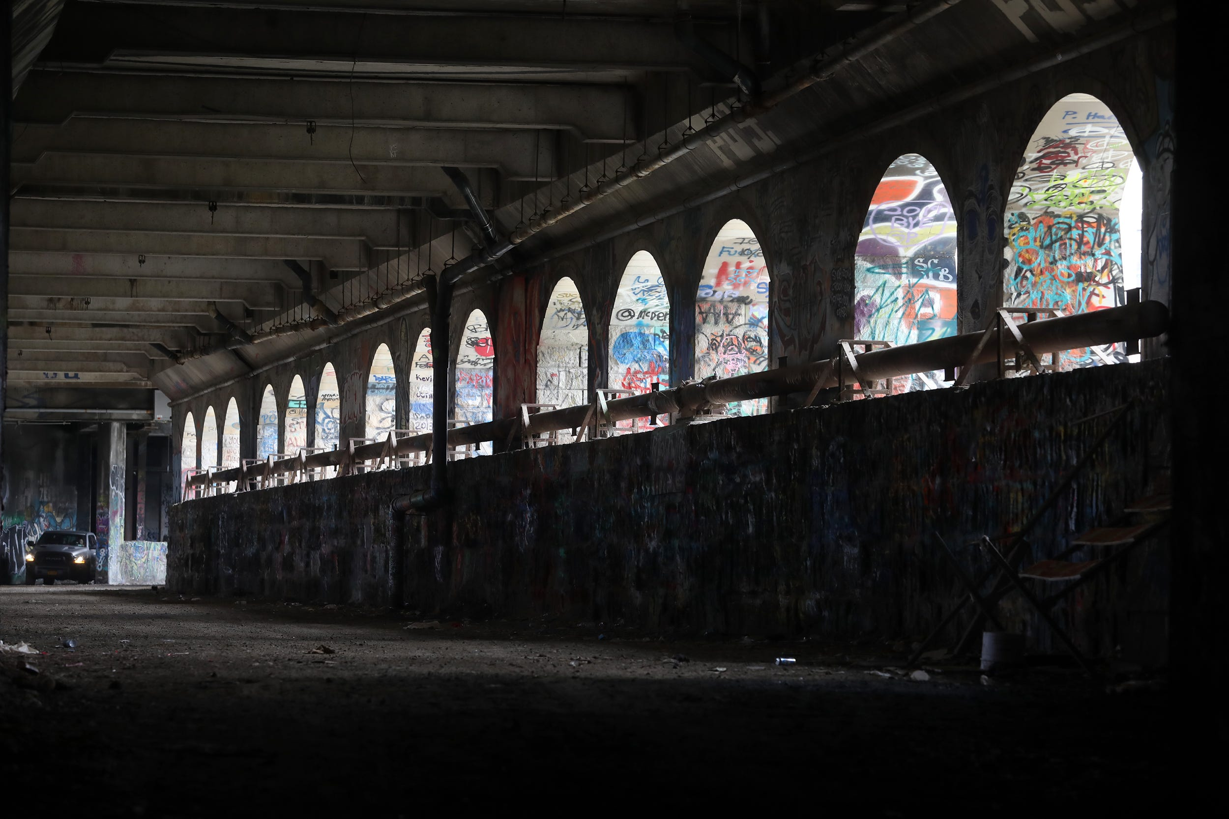 Just about every inch of the subway over the Genesee River including the archway is filled with graffiti. Graffiti artists use the former subway tunnel in downtown Rochester as their canvas on June 9, 2021.