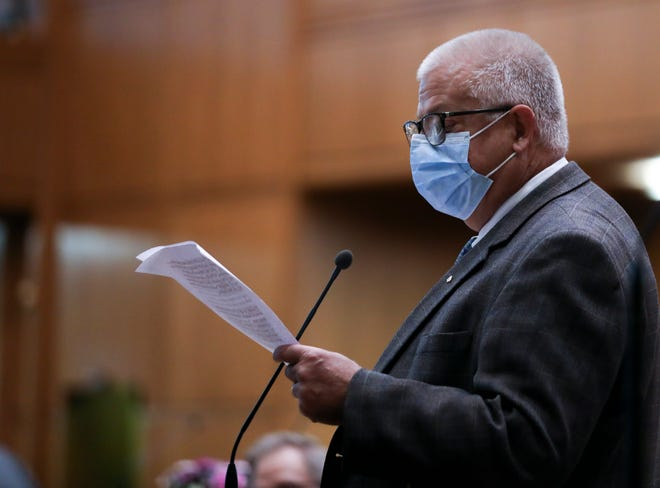 Rep. Mike Nearman addresses the House of Representatives in his defense before the vote on the expulsion resolution at the Oregon State Capitol on Thursday.