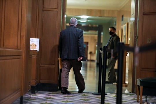Rep. Mike Nearman leaves the Oregon House of Representatives after the vote to expel on Thursday evening.