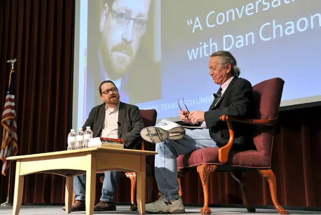 Dr. Terry Dalrymple (right) interviews author Dan Chaon at the ASU Writers Conference.