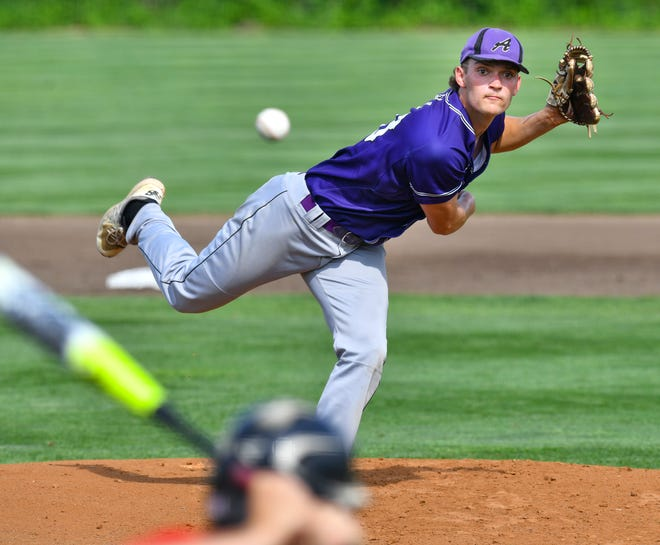 Ethan Navratil pitches for Albany against Piers Thursday, June 10,  2021, at Dick Putz Field in St. Cloud.