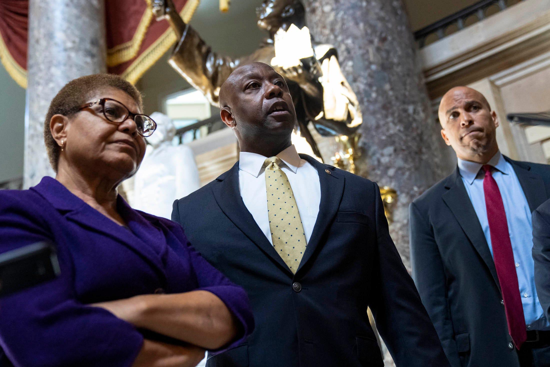Rep. Karen Bass, D-Calif., Sen. Tim Scott, R-S.C., and Sen. Cory Booker, D-N.J., are leading negotiations on police reform legislation on Capitol Hill.