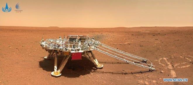 La plate-forme d'atterrissage du premier rover martien chinois Zhurong.