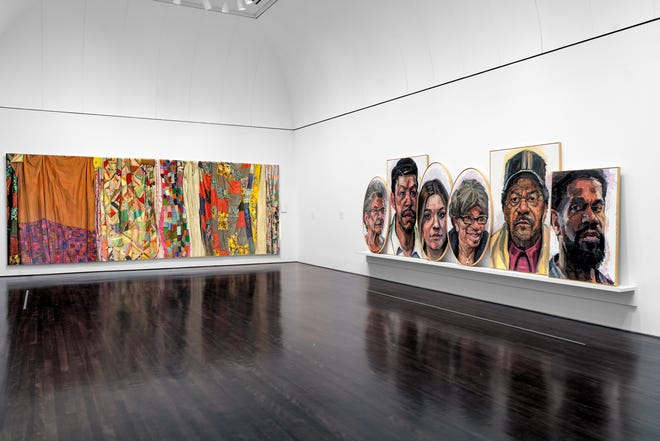 Two of Fort Worth-based painter Sedrick Huckaby's favored subjects are people and fabric. See his solo show at the Blanton Museum of Art.