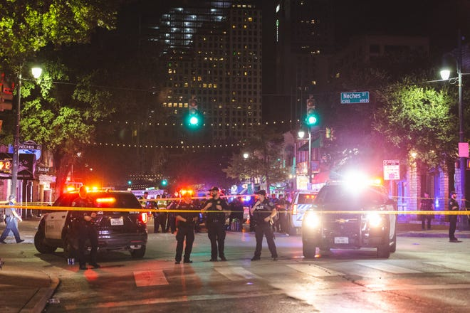 Thirteen people were injured and one fatally wounded during a shooting early Saturday in downtown Austin on East Sixth Street.