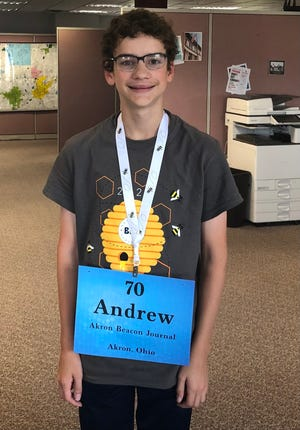 Andrew Yeager of Doylestown, seen in the office of The Canton Repository, represented The Akron Beacon Journal in the Scripps National Spelling Bee.