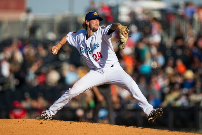 Amarillo Sod Poodles pitcher Matt Tabor (24) pitches against the Corpus Christi Hooks on Friday, June 11, 2021, at HODGETOWN in Amarillo, Texas.