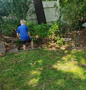 Deegan Patrick does some gardening as part of the 50 Yard Challenge.