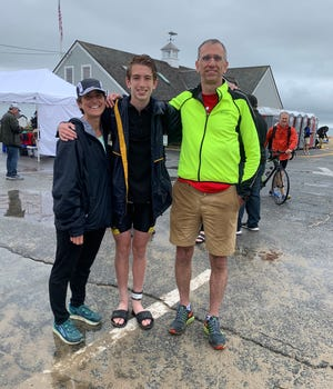 Kim, Will and Brad Crowell after the Hyannis Triathlon last Saturday at Craigville Beach. Will won the boys high school state championship, and competed with Riptide Running, a program Brad founded.