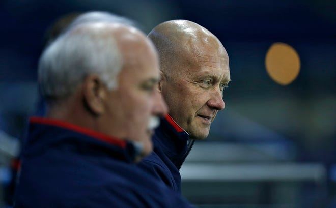 Blue Jackets president John Davidson, left, and general manager Jarmo Kekalainen have some big decisions to make this summer about how to rebuild the team.