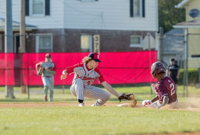Hornell's Jonas Sciotti applies the tag for the out on a steal attempt on Friday evening in the Class B1 semifinals.