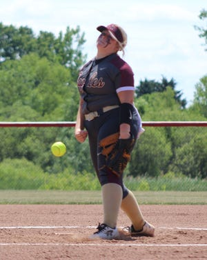 Wayland-Cohocton's Greta Huber fires a strike to the plate during her incredible performance in the circle on Saturday in LeRoy in the Section V Class B2 Semifinals.