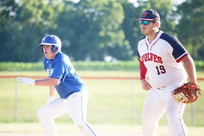 Danville's  Henry Bellrichard gets a lead off first base with WMU's Nick Crow watching the pitch.