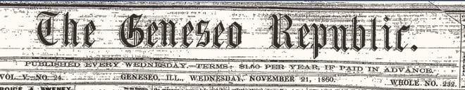 Geneseo Republic masthead as it appeared in 1860