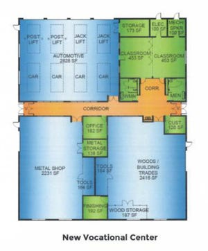 Potential floor plan of proposed vocational center