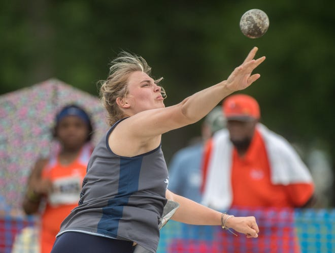 Ryley Huston of Monmouth Roseville throws the shotput Friday, June 11, 2021 during the Class 2A Girls State Track and Field Championships in Charleston.