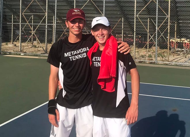 The Metamora doubles team of Harry Hawbaker, left, and Brian Lelm finished second in the IHSA Class 1A boys tennis state finals. The Redbirds finished third as a team.