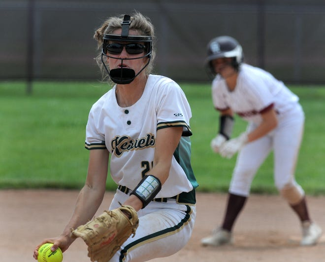 Anna Dean pitches for St. Mary Catholic Central against Riverview Gabriel Richard in the Division 3 Regional semifinals at Richard Saturday.