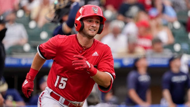 North Carolina State's J.T. Jarrett plays against Georgia Tech in an NCAA college baseball game at the Atlantic Coast Conference tournament on Sunday, May 30, 2021, in Charlotte, N.C. (AP Photo/Chris Carlson)