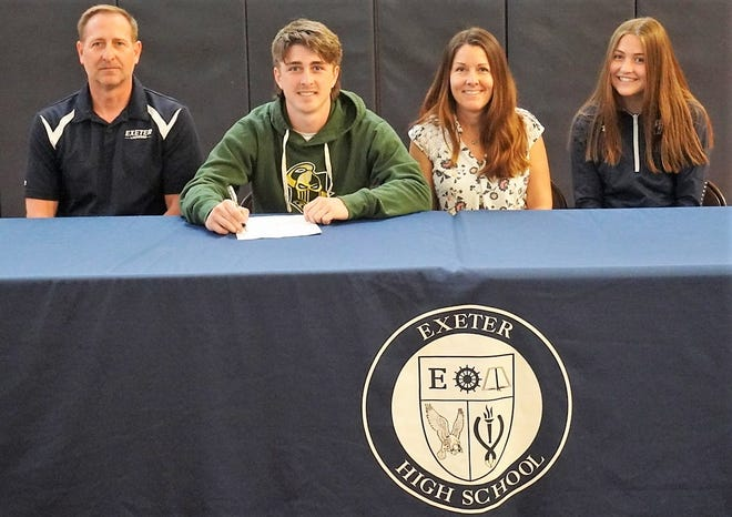 Exeter High School senior Connor Holly, second from left, will play men's lacrosse next year at Clarkson University. Holly is seated with his father, Gerry; mother, Jennifer; and sister, Julia. The Stratham resident plans to major in business studies.
