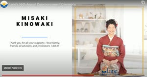 Instead of walking across a stage, Lane Community College graduates had their names read in alphabetical order online on the morning of July 12. Shown here is Misaki Kinowaki.