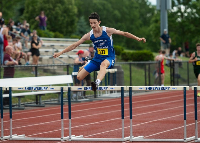 Hopedale's Steven Marchionni competes in the 400 hurdles during the Central Mass. boys track class championships at Shrewsbury High on June 12, 2021.