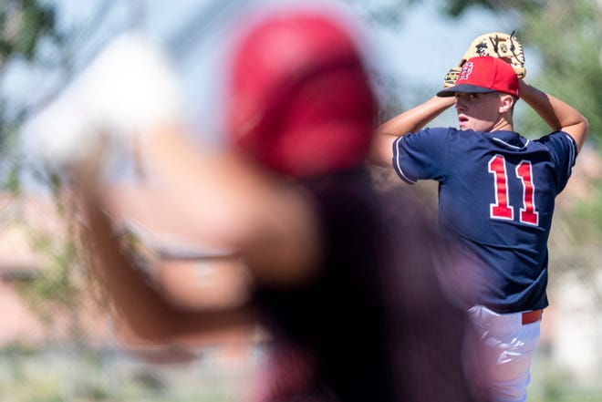 Hesperia Christian's Kyle Day delivers a pitch against Santa Clarita Christian during the second round of the CIF-Southern Section Division 7 playoffs on Tuesday, June 8 2021.