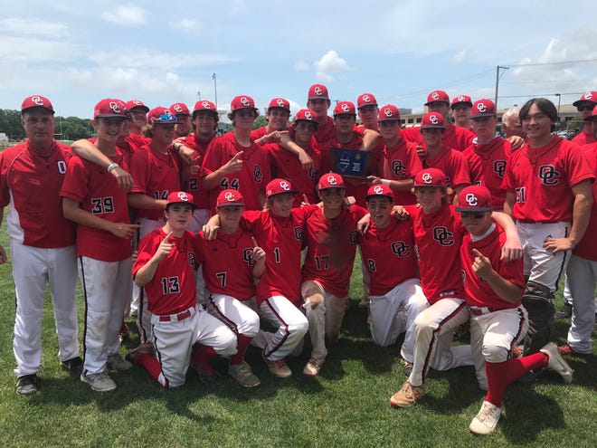 The Ocean City High School baseball team celebrates after defeating Mainland 6-1 in the South Jersey Group 3 final on Saturday.