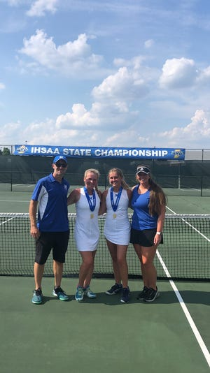 Memorial's doubles duo of Abby Myers and Margo Throop pose with their championship medals after winning the individual doubles state championship on Saturday.