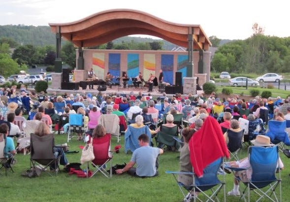 A crowd watches a performance in the Sunset Concert Series at the Peg Egan Performing Arts Center in Egg Harbor, which has room for about 2,500 people for its free, outdoor concerts featuring national touring artists.