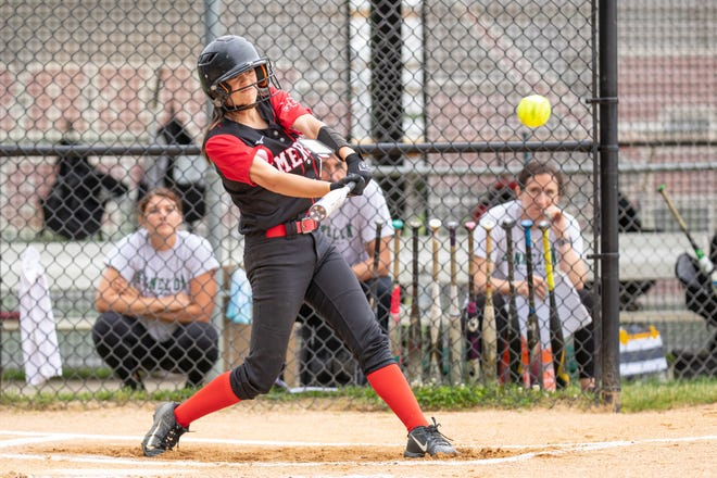 Emerson #13 Amanda Sallemi driving in the first run of the North 1, Group 1 softball sectional final in Emerson, N.J. on Saturday, June 12, 2021.