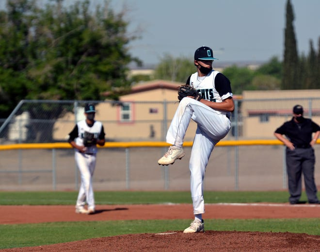 Oñate senior Isaac Silva lead his team to a 3-1 victory in the first game of a doubleheader against Mayfield High Saturday morning.