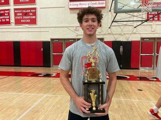 Centennial 2022 point guard Jake Lifgren came away with the MVP trophy after leading his team to the PrimeTime Invitational title over St. Mary's. Photo by Richard Obert