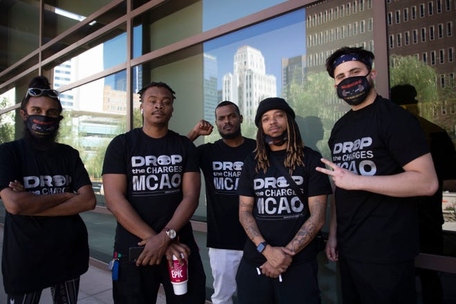 Sushil Rao, Apollo 365, Chesalon Buckner, Fe'La iniko and Ryan Tice at a Mass Liberation AZ press conference outside Maricopa County Superior Court on June 11, 2021, Phoenix. Maricopa County attorney permanently dismissed all remaining charges against protesters charged as gang members.